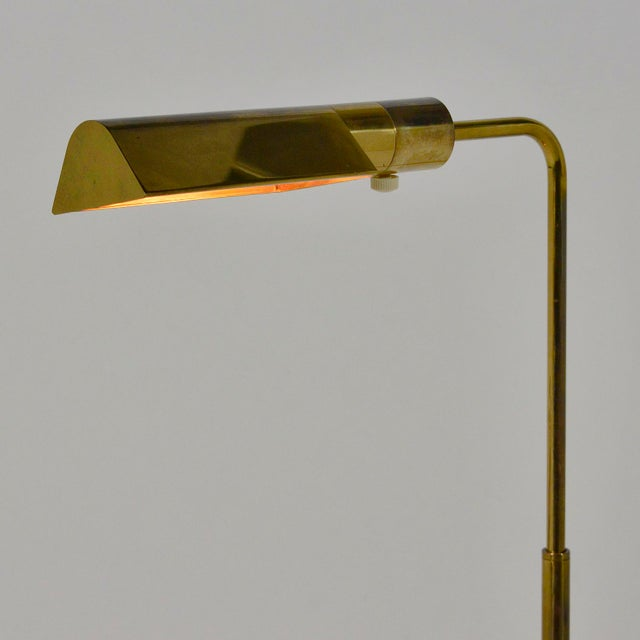 Casella Adjustable Brass Pharmacy Floor Lamp For Sale - Image 10 of 11