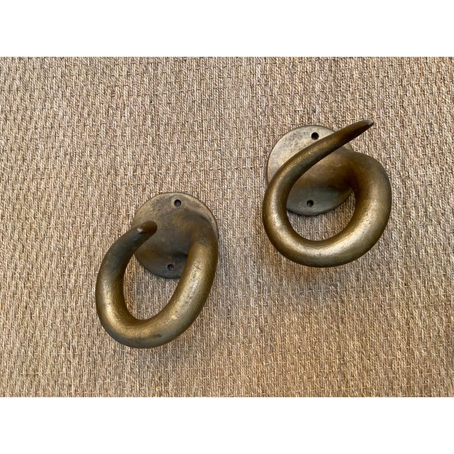 Wood Mid 20th Century Resin Horn Hooks - a Pair For Sale - Image 7 of 7