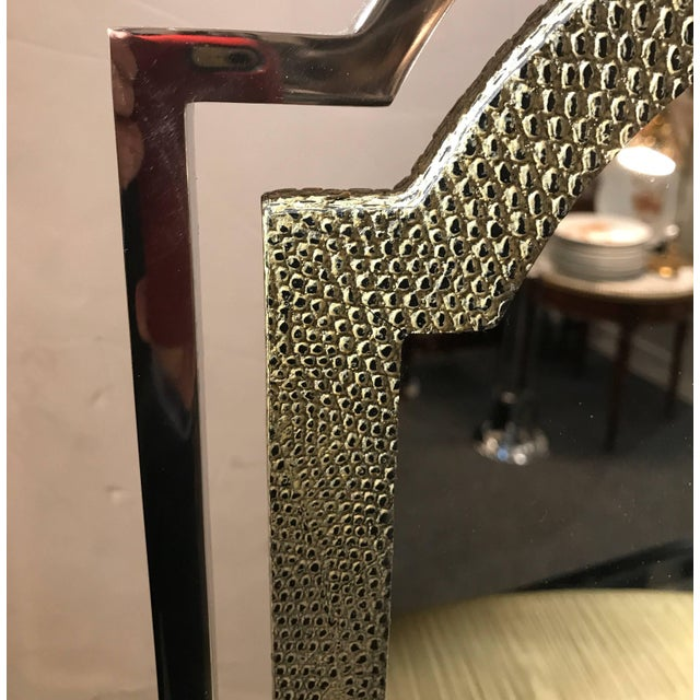 Chic chrome and shagreen style embossed leather tabletop stand up mirror with drawers. The chrome framed mirror with...
