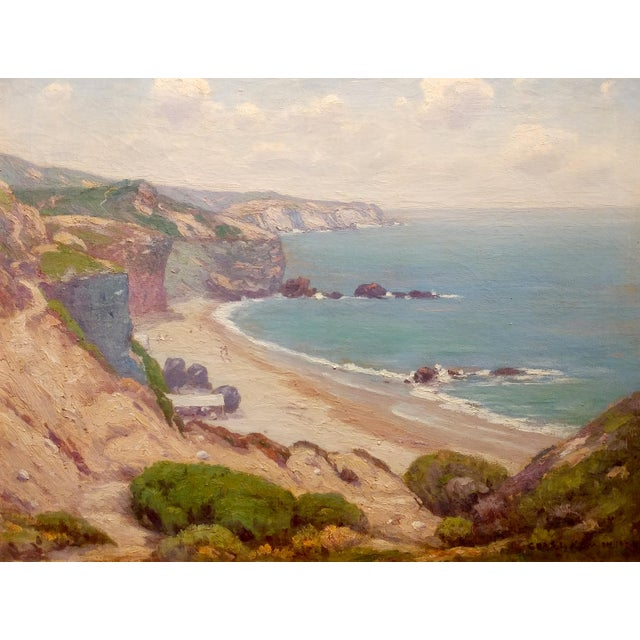 Impressionism Charles L A Smith-Point Dume,Malibu c.1920s-California impressionist-Oil Painting For Sale - Image 3 of 10