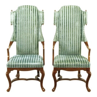 Jim Peed Wing Chairs in Cut Velvet With Brass Finials - a Pair For Sale