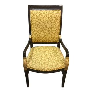 Vintage Bohemian Art Deco Gold Upholstered Wood Chair For Sale