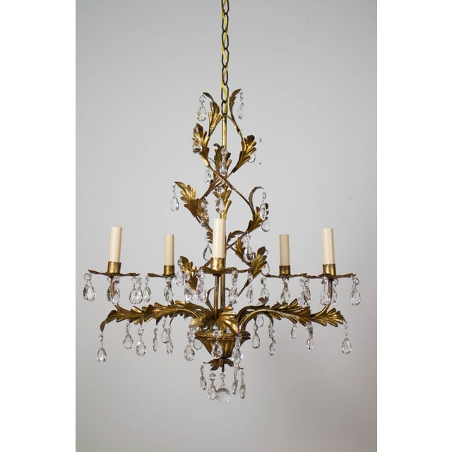 Italian Five Light Gold Leaf and Crystals Chandelier For Sale - Image 9 of 9