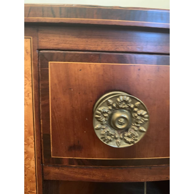 Metal American Sheraton Mahogany Bow Front Sideboard Circa 1810 For Sale - Image 7 of 13