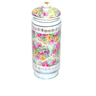 Vintage Porcelain Chintz Biscuit Jar For Sale