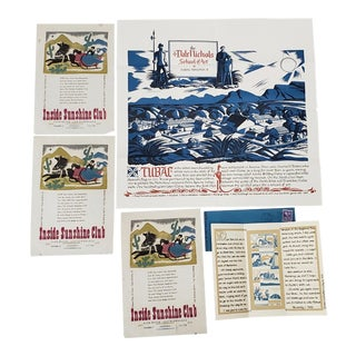 Dale Nichols (American, 1904-1995) Rare Lot of Woodblock Invitations & Hand Written Letter C.1940s For Sale