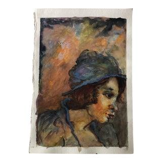 Original Vintage Female Portrait Watercolor Painting 1980's For Sale