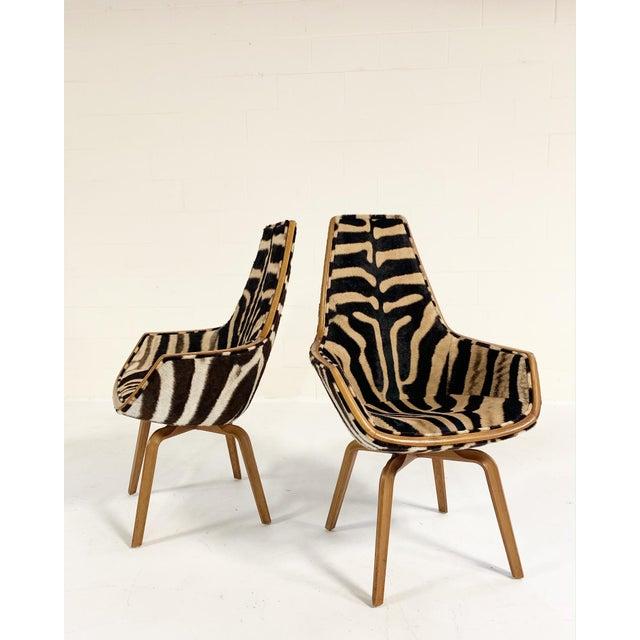 Wood Rare Arne Jacobsen for Fritz Hansen Giraffe Chairs Restored in Zebra Hide - Pair For Sale - Image 7 of 11
