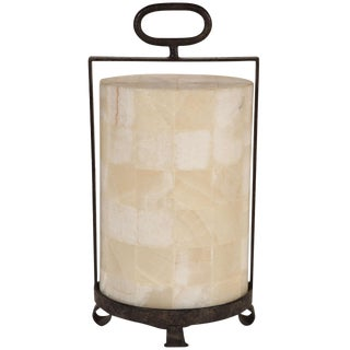 Quartz and Iron Lantern Style Table Lamp For Sale