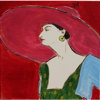 """Contemporary Sarah Myers """"Pink Sun-Hat"""" Acrylic Painting For Sale"""