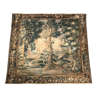 Large 18th Century French Aubusson Tapestry with Trees Birds and People