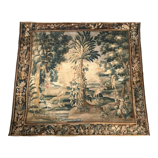 Large 18th Century French Aubusson Tapestry with Trees Birds and People - Image 1 of 11