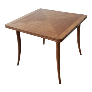Harvey Probber Mid-Century Modern Bleached Mahogany Saber Leg Flip Top Extension Dining or Game Table For Sale