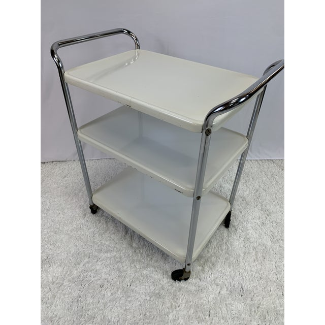 1950s Mid-Century Modern Three-Tier Enameled Metal Serving Cart by Cosco Hamilton For Sale - Image 5 of 11