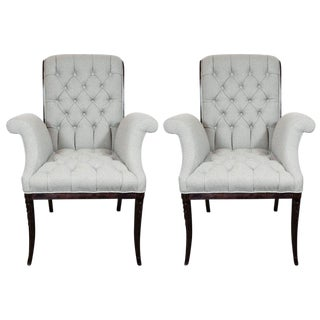 Hollywood Tufted Button Back Scroll Form Side Chairs by Grosfeld House - a Pair For Sale