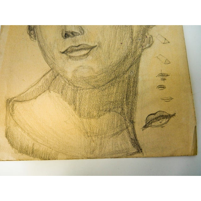 This vintage drawing of a woman or a girl's head is a modern portrait in the style that was popular in the early 1930's....