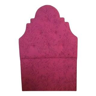 Pink Floral Design Upholstered Headboard For Sale