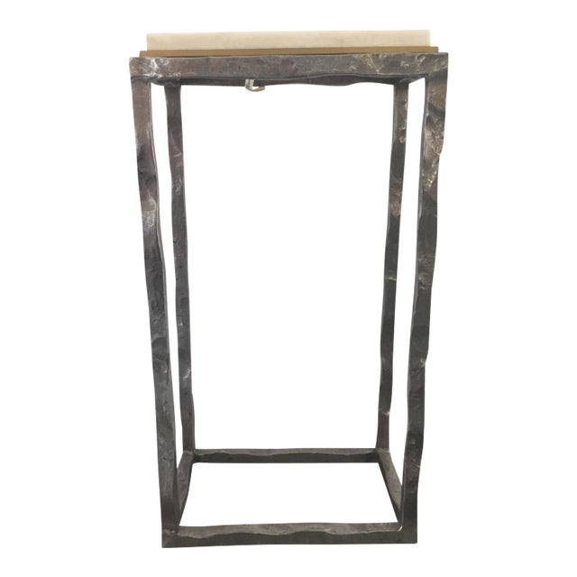 Modern Marble & Metal Sculpture Table For Sale