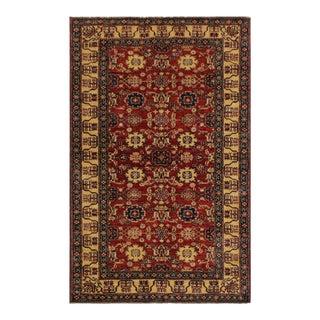 Super Kazak Garish Karlyn Red/Ivory Wool Rug - 4'1 X 5'10