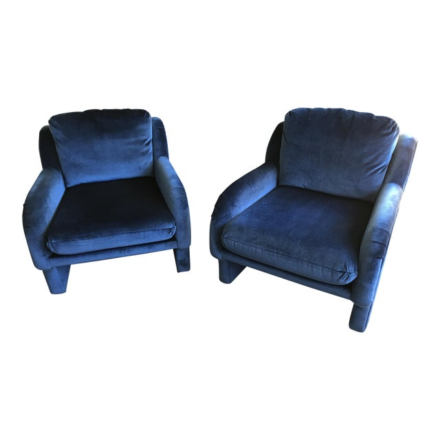 Blue Velvet Chairs - a Pair - Image 1 of 5
