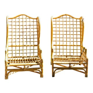 Wingback Bamboo Bentwood Rattan Lounge Chairs - a Pair For Sale
