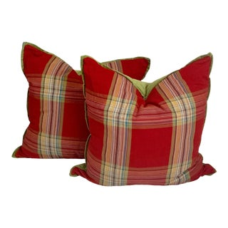 26' European Size Country Checkered Red and Green Velvet Pillow Cases - a Pair For Sale