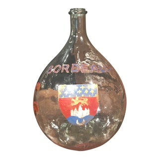 Large French Handblown Wine Bottle with Handpainted Coat of Arms of Bordeaux