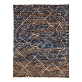 Contemporary Moroccan Style Area Rug with Abstract Design For Sale