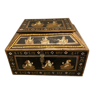 Vintage Indian Hand Painted Wedding Offering Chest For Sale