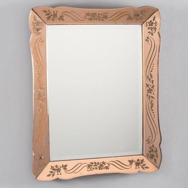 Art Deco Era Rectangular Etched Venetian Mirror For Sale - Image 9 of 9
