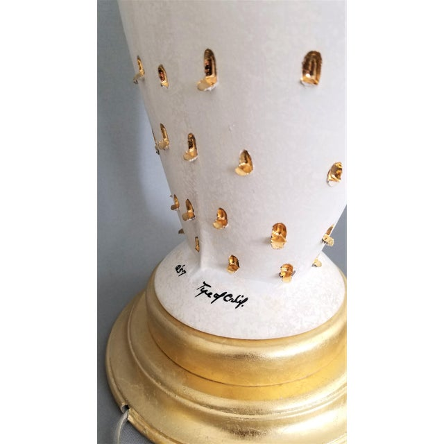 Gold 1957 Ceramic Table Lamps by Tye of California-A Pair-Restored-Gold Leaf White Brass Mid Century Modern MCM Palm Beach Boho Chic Tropical Coastal Luxe For Sale - Image 8 of 13