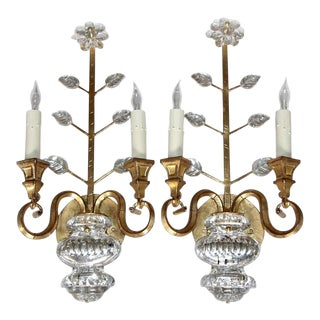 1980s Traditional Baguès Style Crystal Gilt Flower Wall Sconces - a Pair For Sale