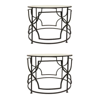 Cyan Design Modern Metal and Mirror Rhombus Round Bunching Cocktail Tables Pair For Sale