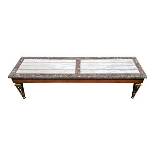 Mid-Century Modern Maison Jansen Style Bronze & Marble Top Coffee Table For Sale