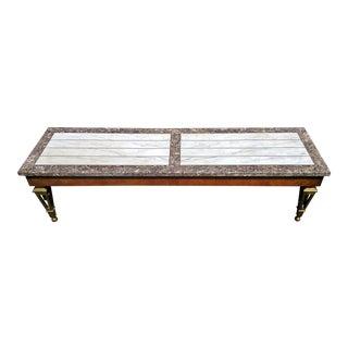 Mid-Century Modern Maison Jansen Style Bronze & Marble Top Coffee Table