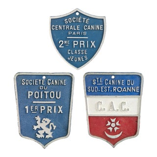 Vintage French Canine Award Plaques - Set of 3