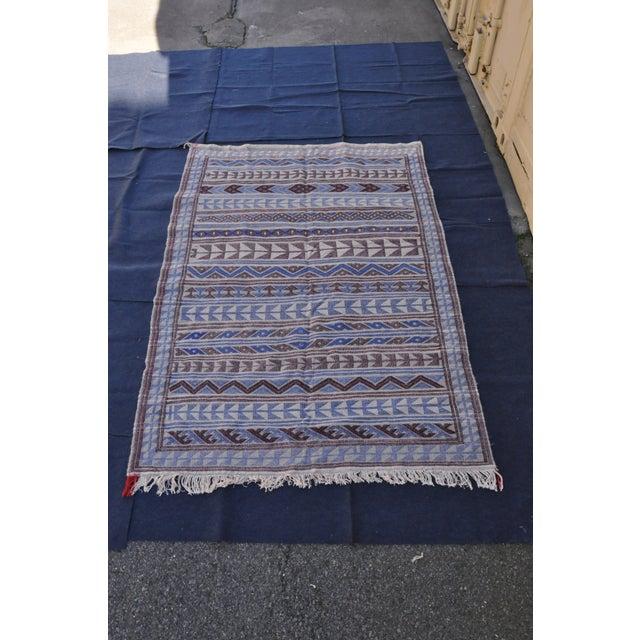 "Moroccan Flatweave Violet & Blue Rug - 4'10"" x 7' - Image 2 of 8"