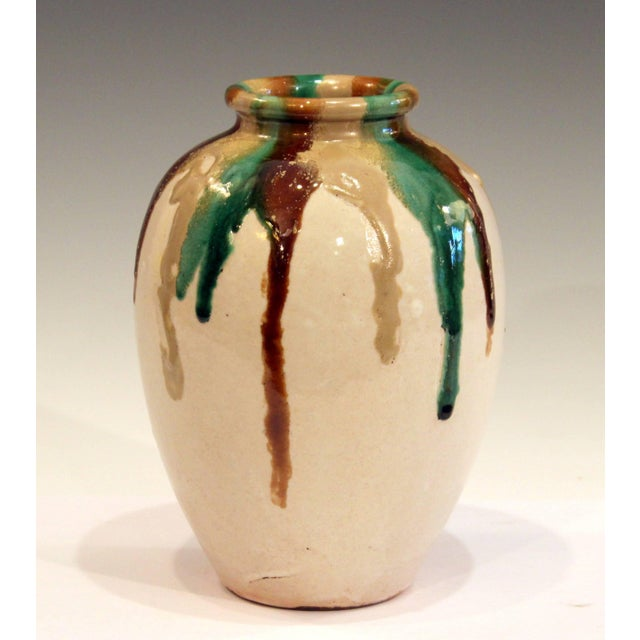 Brown Awaji Pottery Art Deco Vase in Tricolor Drip Glaze For Sale - Image 8 of 9