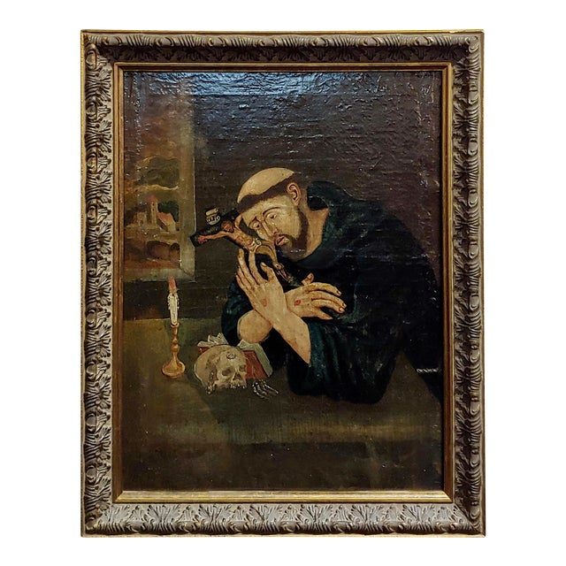 18th Century Spanish Colonial- Saint Francis of Assisi -Oil Painting For Sale