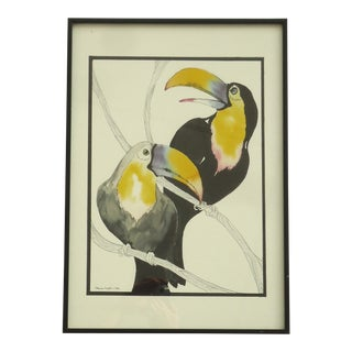 """Toucans"" Watercolor Ink Painting by Sharon Layton For Sale"