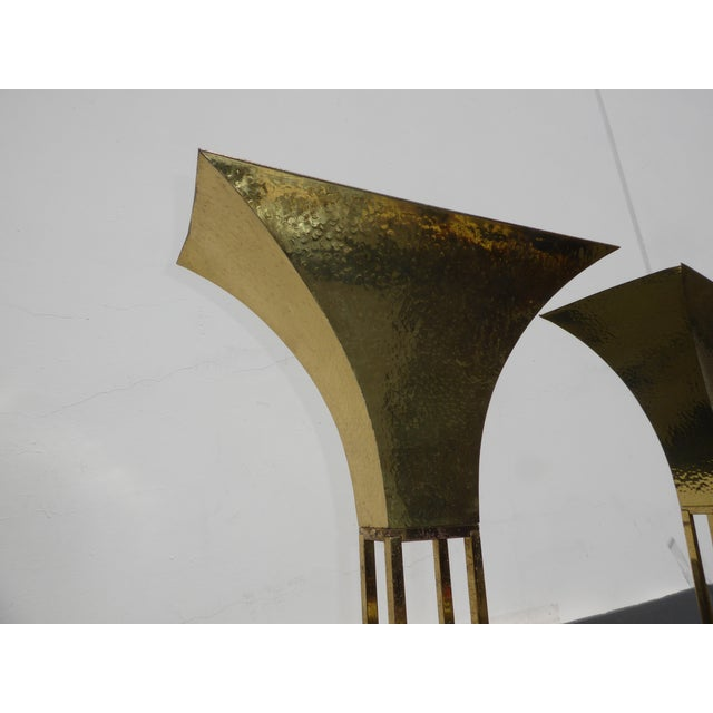 Mid-Century Art Deco Brass Plated Torchiere Floor Lamps - a Pair - Image 7 of 11