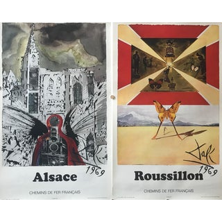 1969 French Salvador Dali Travel Posters, Alsace + Roussillon For Sale