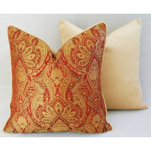 Custom French Jacquard & Velvet Pillows - A Pair - Image 6 of 10
