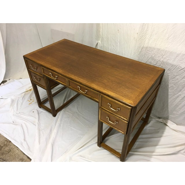 Asian McGuire Oak and Rattan Desk For Sale - Image 3 of 10
