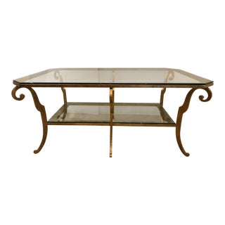 1970s Hollywood Regency Gilt Iron and Glass Two Tier Coffee Table For Sale