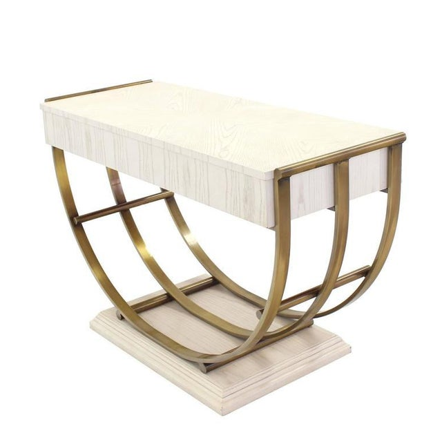 White Pickled Oak Finish Brass U-Shape Base Console Table For Sale - Image 9 of 9
