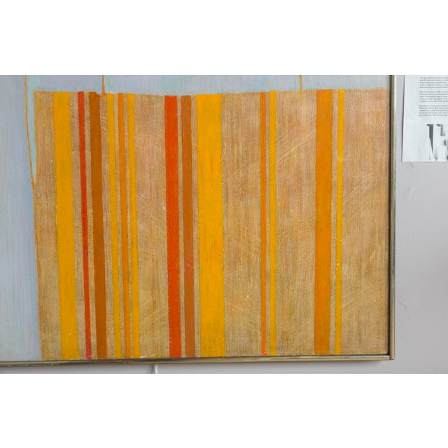 1960s Large Mid Century Abstract Oil Painting on Linen by Listed Artist For Sale - Image 5 of 9