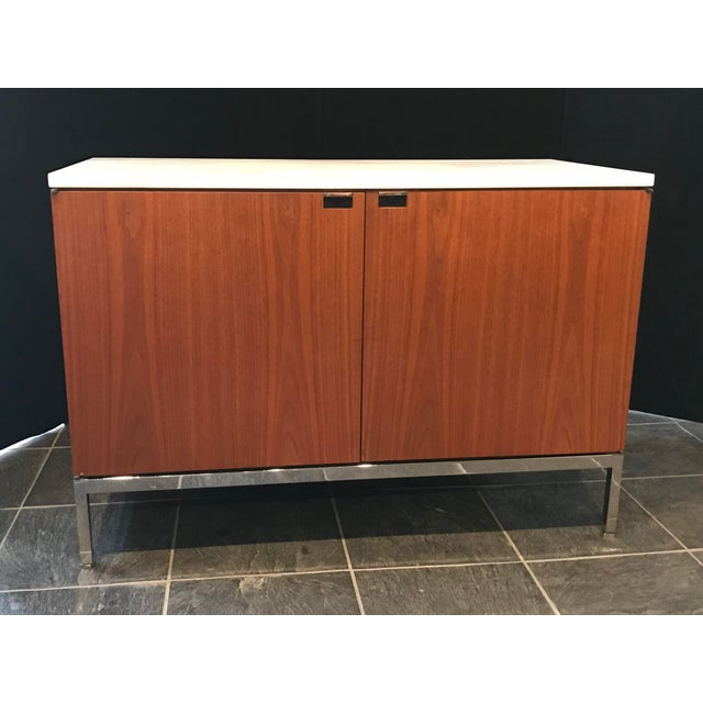 Gray Florence Knoll Walnut Credenza With Calacatta Marble Top and Finished Back For Sale - Image 8 of 8