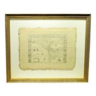 Antique Grand Tour 19th Century Copy of 1635 G. Blaeu Map of America For Sale