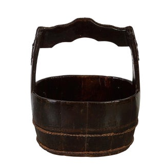 Antique Chinese Wooden Water Bucket For Sale